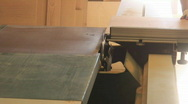 Cabinetry shop - 2 - table saw cutting large flat Stock Footage