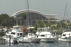 Puerto Rico Convention Center 5 site of Playboy 50th Anniversary Stock Footage