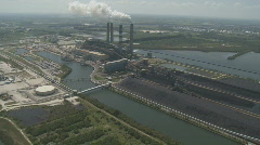 Aerial Coal Power Plant Stock Footage