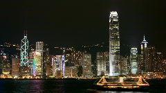 Hong Kong Victoria Harbor night view Stock Footage