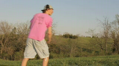 Disc Golf (frisbee) player - Close up throw Stock Footage