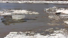 River ice drift with an ice blockage and a whirlpool - stock footage