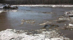 River ice drift with an ice blockage and a whirlpool Stock Footage