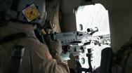 (Loud) Helicopter door gunner firing machine gun (HD) c Stock Footage