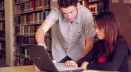 Students Working in Library Stock Footage