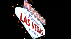 Angled View of Welcome To Las Vegas Sign Stock Footage