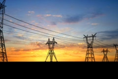Two row power pylons. - stock footage