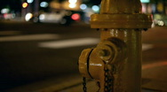 Fire Hydrant at intersection at night Stock Footage