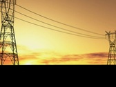 Electricity pylons footage Stock Footage