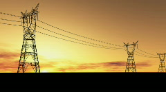 Electricity pylons footage - stock footage