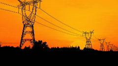 Electricity pylons video - stock footage