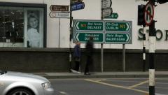 Drogheda Timelapse of an Irish Town 17 Belfast or Dublin Road Sign Stock Footage