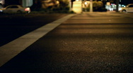 White Stop line of intersection at Night Stock Footage