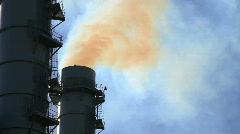 Smoke Pours from Smoke Stacks at Power Plant Stock Footage