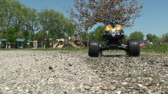 RC truck in gravel reverse Stock Footage