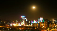 Moon over city - stock footage