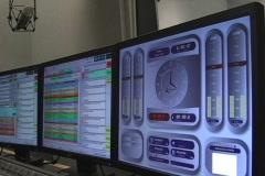 Radio station computer mixer control screens Stock Footage