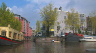 Amsterdam canal view Stock Footage