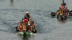 Dragon Boats Move To The Start Line Of The Race Stock Footage