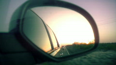 T182 car driving desert rear view mirror Stock Footage