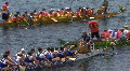 Dragon Boats Docking After A Race Footage