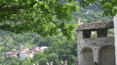 Mountain village and castle tower Stock Footage