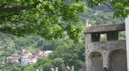 Stock Video Footage of Mountain village and castle tower
