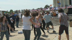 Born Again Christians Dance at Lincoln Memorial - stock footage