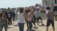 Stock Video Footage of Born Again Christians Dance at Lincoln Memorial