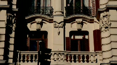 Madrid, Spain, Facade covered by shadows in Gran Vía Stock Footage