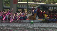 Stock Video Footage of Dragon Boat Just Before The Start Of The Race