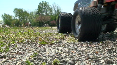 RC truck spinning out in gravel Stock Footage