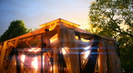 T182 magical gazebo tent blowing wind Stock Footage