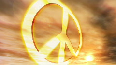 (1181) Peace Symbol Sunset Couds Nostalgic Protest Hippie Culture Animation Stock Footage