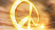 Stock Video Footage of (1181) Peace Symbol Sunset Couds Nostalgic Protest Hippie Culture Animation