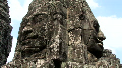 Ancient Faces Bayon Temple Ruin at Myterious Angkor Wat Cambodia Stock Footage