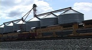 Stock Video Footage of Train Yard with Granaries