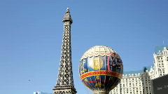 Tilt of Paris Casino in Las Vegas Stock Footage