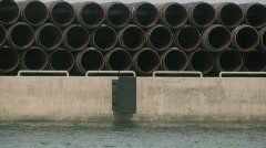 Underwater gas pipes on a pier for a gas pipe construction in the baltic sea Stock Footage