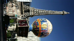 Vertical shot of Paris Hotel and casino Stock Footage