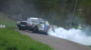 Classic rally car spin Stock Footage