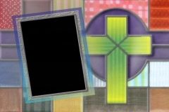 Stock Video Footage of 4830 cloth patches cross christain picture frame
