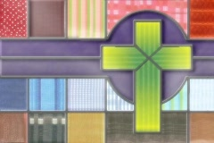 4828 cloth patches cross christain background  Stock Footage