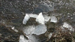 Ice cracking and moving under wind pressure towards a pond bank Stock Footage