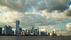 HD Puffy clouds over Miami sky line Stock Footage