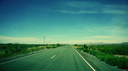 T183 old desert road old film Stock Footage