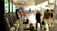 Slot Machines at Airport Stock Footage