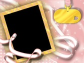 4826 pink white ribbon gold name plate girl picture frame  Stock Footage