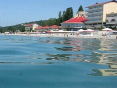 View of hotel from sea near beach Stock Footage