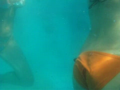 Women in swimming suits runs around in water pool Stock Footage